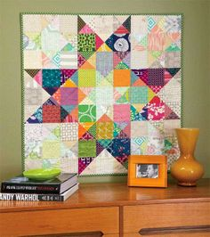 Decorating with quilts: Modern Ohio Star quilt by Splendorfalls, published in the June/July 2014 issue of McCall's Quilting Big Block Quilts, Star Quilt Blocks, Star Quilts, Scrappy Quilts, Mini Quilts, Quilt Baby, Quilting Projects, Quilting Designs, Mccall's Quilting