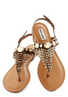 Time for a Chain Sandal - Flat, Faux Leather, Bronze, Rhinestones, Sequins, Beach/Resort, Luxe, Summer, Good, Chain