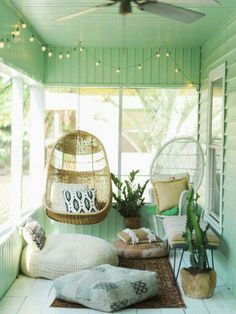 Beach Cottage Chic Mint Green Wood Panel Porch Exterior Setting With Wicker  Rattan Style Seating Accents   Pad Peek: Sean And Melissau0027s Kaleidoscopic  Home