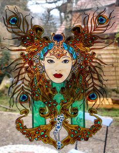 CARNAVAL QUEEN wicoart HANDMADE STAINED GLASS EFFECT WINDOW CLING EASY TO APPLY AND TO REMOVE HAND PAINTED WITH GALLERY GLASS AND GLASS PAINT PEBEO ON AN ELECTROSTATIC VINYL SHEET ONE OF A KIND OOAK