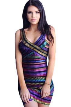 Firework Stripe Sleeveless V Neck Bodycon Bandage Dress modeshe.com