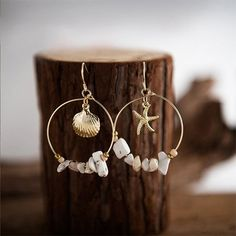 Wear this Summer Vintage Sea Shell Starfish Dangle Earrings and make a fashionable statement. Find more unique earrings at Apollo Box! Starfish Earrings, Shell Earrings, Stone Earrings, Beaded Earrings, Earrings Handmade, Beaded Jewelry, Handmade Jewelry, Gothic Jewelry, Hoop Earrings