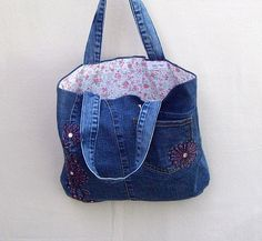 Pink Flowers small navy denim tote with pink flower