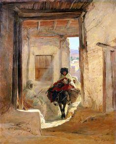 Algérie - Peintre Français  Eugène Alexis Girardet ( 1853-1907), huile sur toile , Titre : Passage à Bou- Saada