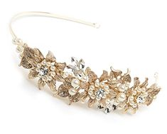 USABride Floral Leaf GoldTone Headband Crystal Simulated Pearl Rhinestone Botanical Bridal Headpiece TI3259G * Click image to review more details.(This is an Amazon affiliate link and I receive a commission for the sales)