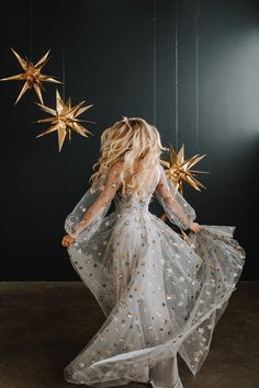 long sleeve chiffon dress with glitter sequins stars for new years party Sheer Wedding Dress, Sheer Dress, Chiffon Dress, Dress Up, Pretty Dresses, Beautiful Dresses, Prom Dresses, Formal Dresses, Wedding Dresses