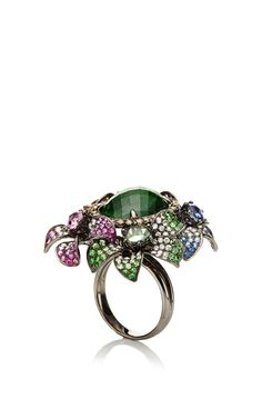 Colorful Sapphire Flower Ring by Wendy Yue for Preorder on Moda Operandi