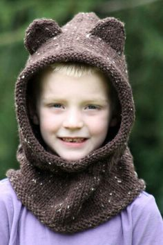 Baby Bear Hood by Balls to the Walls knitting