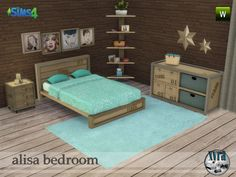 Industrial style bedroom set, contains: double bed, end table, dresser, paintings, shelves, decorative stars and carpet. All are new meshes and are in 2 colors, carpets in 5 colors Found in TSR...