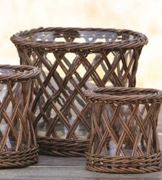 """These curved willow flower vases come in medium and large sizes. They look great with dried hydrangeas, sea shells or as candle votives. You can't go wrong. Select Medium or Large Medium 6.5"""" diameter"""