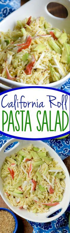 This California Roll Pasta Salad is crazy easy to throw together and makes a perfect dish to bring to a BBQ or potluck!