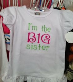Childrens Tee Shirt I the BIG Sister by ButterfliesnDreams on Etsy, $18.00