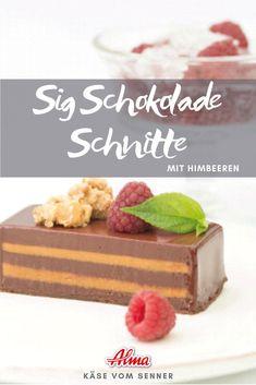 Die Sig Schnitte ist ein typisches Rezept aus Vorarlberg. Die Molke wird eingesotten und karamellisiert dabei. Das Sig wird dann für die Sig Schokolade Schnitte verwendet. Probiert es aus! Cereal, Breakfast, Desserts, Food, Raspberries, Chocolate, Morning Coffee, Tailgate Desserts, Deserts