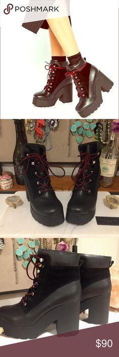 "Spotted while shopping on Poshmark: LF ""EEight"" 38 Lace Up Platform Heeled Ankle Boots! #poshmark #fashion #shopping #style #LF #Shoes"