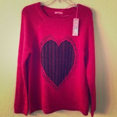 "Heart sweater! Adorable!  Wear it with anything!  So versatile and with just enough pop with that gorgeous color (like between magenta and red).  Size reads 14/42... but I would say fits like a L.  I'm 5'4"" 125lbs.  Brand new (has tag but no price...).  I also have a smaller gray/white one in another listing!  Love Knitwear Sweaters"