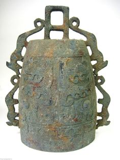 """Antique Zhou Dynasty Style Chinese Bronze Temple Bell with Tigers Large 12"""" Tall   eBay"""