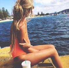 summer beach outfit and messy salt-spray hair