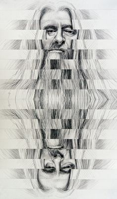 Autoportrait Gandalfisé doublement inversé - by Philippe Chesneau - rep. n° 1704 - collage tirage giclée sur carton blanc - dim. H 82 x L 48 cm