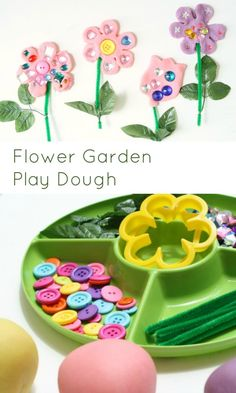 Flower garden play dough invitation to play. Playdough Activities, Toddler Activities, Preschool Activities, Flower Activities For Kids, Preschool Flower Theme, Spring Preschool Theme, Spring Theme, Preschool Art, Preschool Garden