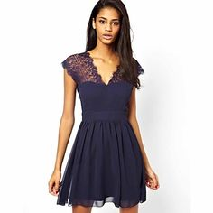 Shop Navy V Neck Backless Lace Pleated Dress online. SheIn offers Navy V Neck Backless Lace Pleated Dress & more to fit your fashionable needs. Pretty Outfits, Pretty Dresses, Club Dresses, Dress Me Up, Dress To Impress, Dresses Online, Lace Dress, Chiffon Dress, Fashion Dresses