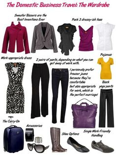 Travel_Domestic-Business packing for a business trip - several outfits in business casual style
