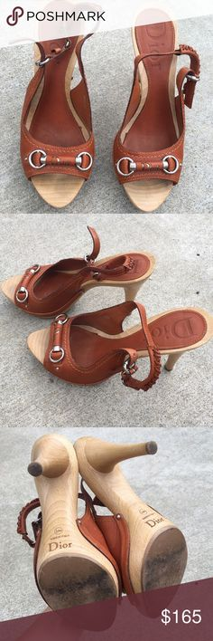 Christian Dior Leather Logo Wooden Heel Peep Toe Christian Dior brown leather Logo Wooden Heel Peep Toe Heel Sling Sandals, size is 38 1/2, these are in absolutely mint condition only worn a handful of times. 100% authentic ❤️ Christian Dior Shoes Heels