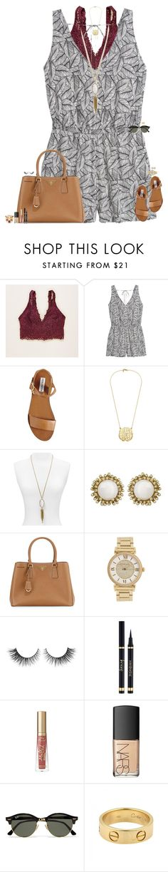 """."" by maggie-prep ❤ liked on Polyvore featuring Aerie, H&M, Steve Madden, Kendra Scott, Prada, Michael Kors, Rimini, Yves Saint Laurent, NARS Cosmetics and Ray-Ban"