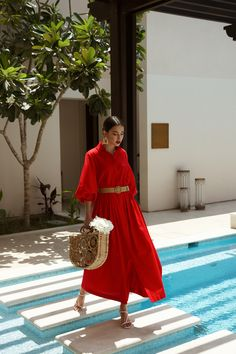 Breezy Red Midi Belted Dress – Fashion World Red Dress Outfit, Belted Shirt Dress, The Dress, Red Dress Casual, Modest Fashion, Love Fashion, Fashion Dresses, Paris Chic, Spring Summer Fashion