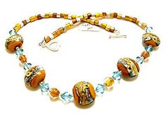 Lampwork Necklace Handmade, Artisan Lampwork Beads LN010