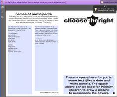 EDITABLE Primary Sacrament Meeting Program Cover - 2012 CHOOSE THE RIGHT | Mormon Share