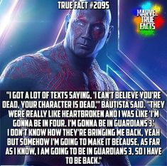 Drax is one of my faves 🤣 Heroes Actors, Marvel Actors, Marvel Cinematic Universe, Marvel Universe, Marvel Avengers, Marvel Comics, Avengers Memes, Superhero Movies, True Facts