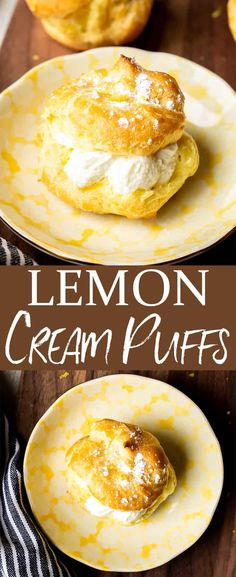 Lemon Cream Puffs - this easy recipe is made with a classic, French pâte à choux pastry that is filled with the most perfect, sweet, lemon cream filling. These beautiful little puffs make a delicious dessert for spring and summer entertaining and celebrations. | #creampuffs #lemon #lemondesserts #lemoncreampuffs #pastry #dessert #lowsugar #profiteroles #lemonprofiteroles