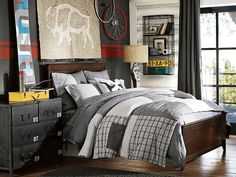 Hampton Cameron Patchwork Bedroom PotteryBarn Teen  Colors and Stripe on the wall