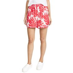 Ella Moon Piped Shorts (104 AUD) ❤ liked on Polyvore featuring shorts, coral palm print, elastic shorts, palm leaf shorts, palm tree shorts, palm print shorts and palm shorts