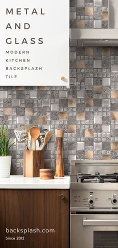 Unique mix glass metal gray copper mosaic backsplash tile for kitchen backsplash and indoor wall application. Kitchen Remodel, Tile Backsplash, Kitchen Decor, Modern Kitchen, Backsplash, Kitchen, Kitchen Tiles Backsplash, Copper Mosaic Backsplash, Kitchen Backsplash Trends