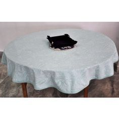 Paisley printed soft blue table cover round #tablecovers #tablecoversonline