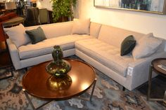 The Brady Sectional is back in a fabulous new fabric!  www.lifestylescomo.com. Picture this a with the small pillows in beige and the large pillows in a pattern / color to match the living room