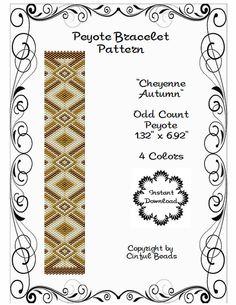 Peyote Bracelet Pattern Cheyenne Autumn by CinfulBeadPatterns