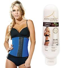 Ann Chery Workout Waist Trainer AND Caffeine Slimming Toning Cream 120g Bundle XLarge38 Blue * Be sure to check out this awesome product.