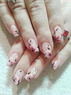 Cherry blossom nail design