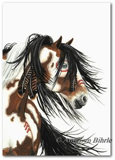 Majestic Horses  War Paint Native Feathers  Fine by AmyLynBihrle, $50.00