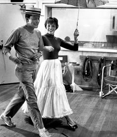 Julie Andrews and Dick Van Dyke rehearsing for Mary Poppins