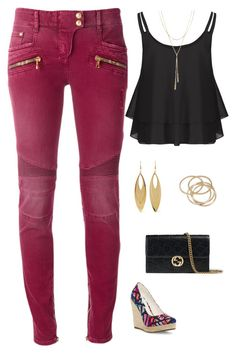 """""""Untitled #1657"""" by netteskytte on Polyvore featuring Balmain, Kenneth Jay Lane, ABS by Allen Schwartz, Michael Antonio, Bloomingdale's and Gucci"""