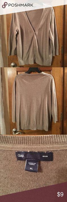 Gap Cardigan Size XL Tan Gap 3/4 sleeve cardigan, tan, 100 % cotton. GAP Sweaters Cardigans