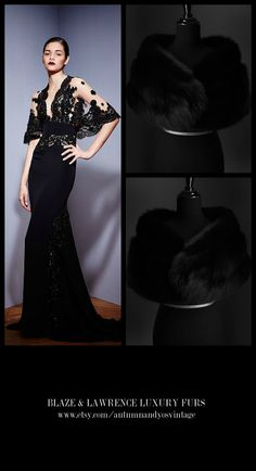 Stay luxuriously warm……..……...https://www.etsy.com/shop/AutumnandYosVintage?ref=hdr_shop_menu….#luxury #luxurylife #luxe #fashion #style #trend #gown #dress #fur #classic #gift #wedding #bridal #redcarpet #blacktie #LuxuryGowns + #LuxuryFurs = #PerfectCombination…….GET THIS LOOK: Zuhair Murad Fall Winter 2015 - 2016 Gown + Blaze & Lawrence Luxury Fur Stole