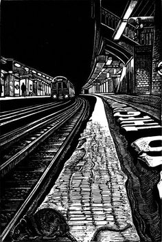 ARTFINDER: View Subterranea 4 by Rebecca Coleman - This wood engraving continues a series of works based on my fascination with the Underground. In my artwork I love to explore the dynamics of light and dark. Art Postal, Dark Artwork, Engraving Art, Perspective Art, Linoprint, A Level Art, Dark Photography, Chiaroscuro, London Art