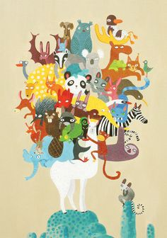 Greeting card  Lama & animals by lukaluka on Etsy, $5.00