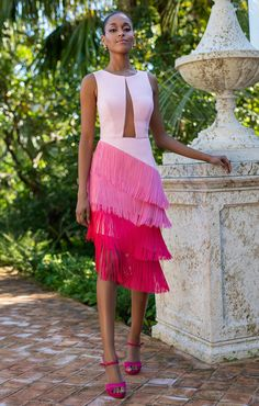 Pink dress to wear Weekly new trends in clothes, shoes & accessories at ZARA online. Black Women Fashion, Pink Fashion, Fashion Dresses, Womens Fashion, Fashion Vest, Fashion Edgy, Dress Skirt, Dress Up, Fringe Dress