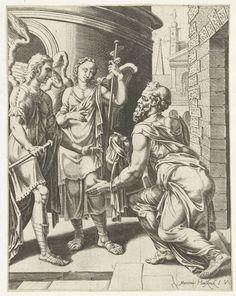 Cornelis Bos   Lot ontvangt de twee engelen, Cornelis Bos, c. 1551   Lot wacht voor de stadspoort op de twee engelen en nodigt ze uit bij hem in huis te eten en te overnachten.