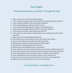 Date night questions. Could be fun!!